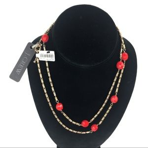 J Crew Long Gold Faceted Coral Beads Necklace NWT